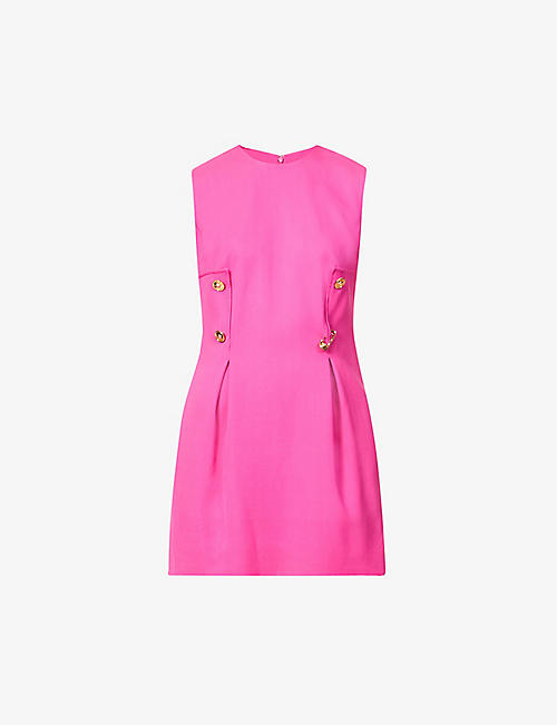 VERSACE: Button-detail crepe mini dress