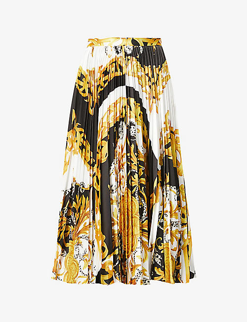 VERSACE: Baroque-print pleated satin midi skirt