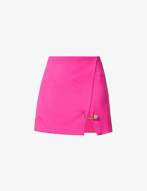 VERSACE: Safety pin-embellished stretch-crepe mini skirt