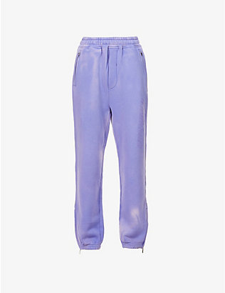 WE11 DONE: Iridescent tapered high-rise cotton-blend jogging bottoms