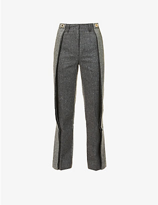 WE11 DONE: Herringbone-pattern straight-leg high-rise wool-blend trousers