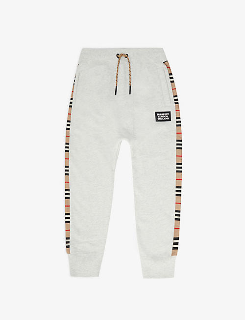 BURBERRY: Hamilton checked cotton-jersey jogging bottoms 3-14 years