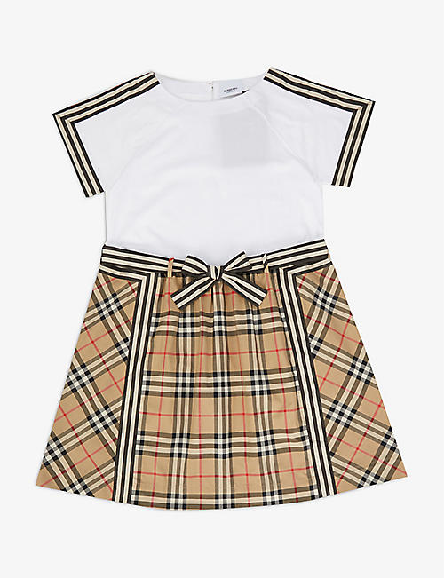 BURBERRY: Rhonda checked cotton mini dress 3-14 years