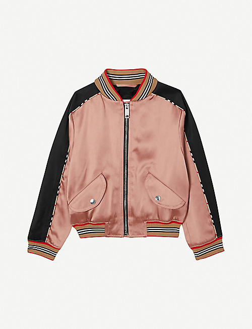 BURBERRY: Imogen logo-embroidered satin bomber jacket 8-14 years