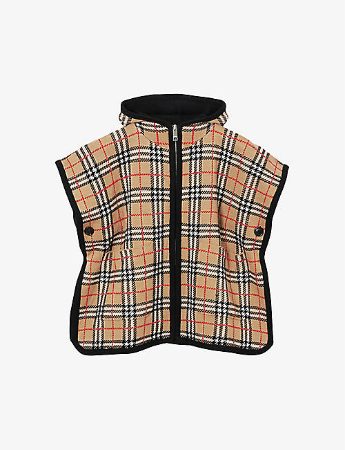 BURBERRY: Hooded checked jacquard merino-wool poncho 4-14 years