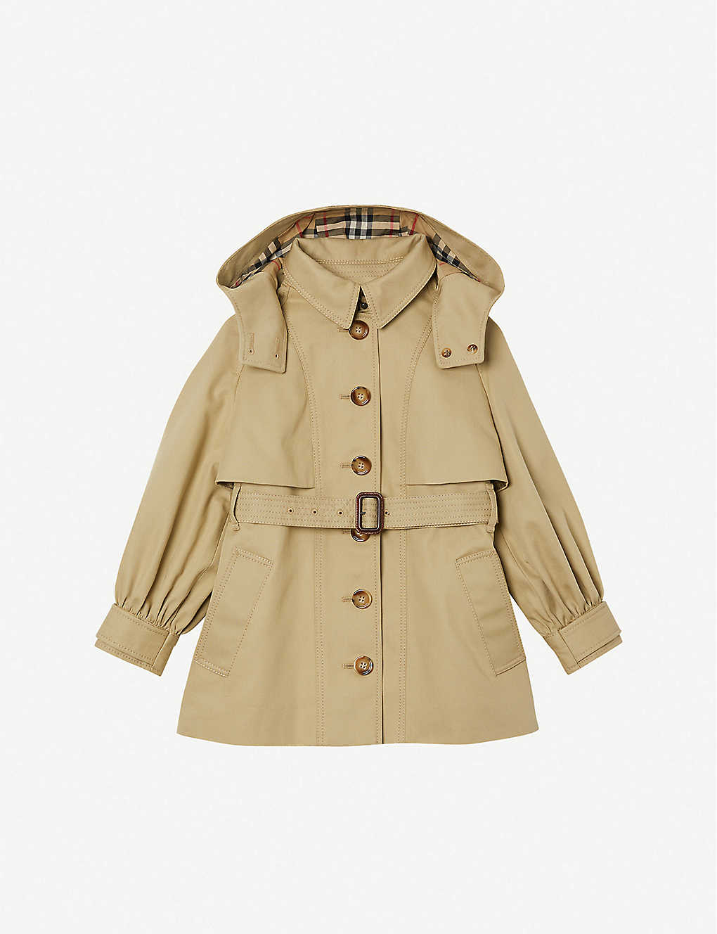 BURBERRY: Julieta detachable-hood cotton-twill trench coat 3-14 years