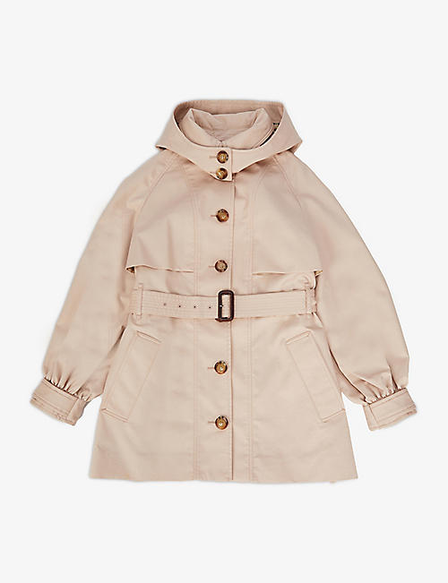 BURBERRY: Julieta detachable-hood cotton trench coat 3-14 years
