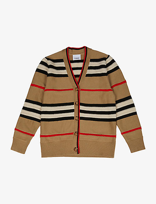 BURBERRY: Leeta striped wool and cashmere blend cardigan 3-14 years