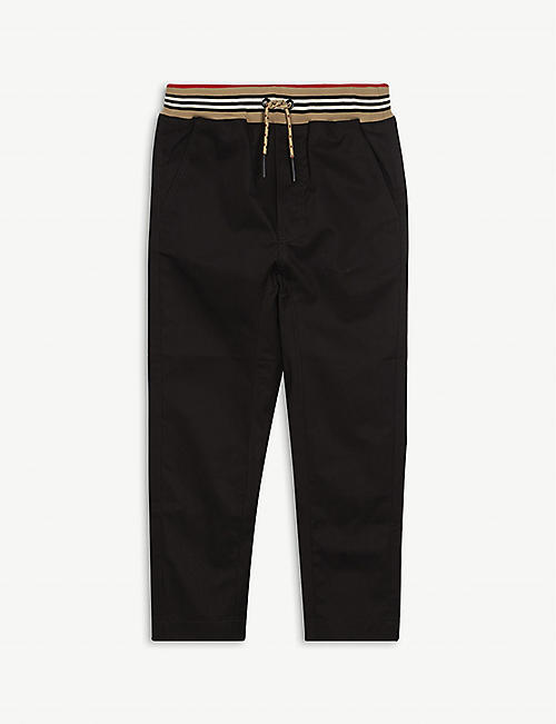 BURBERRY: Dilan striped-trim cotton trousers 3-14 years