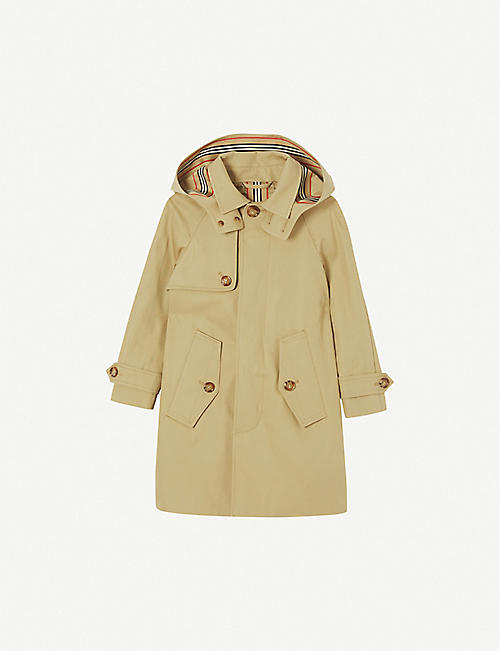 BURBERRY: Bradley detachable-hood cotton-twill car coat 4-14 years