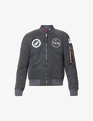 ALPHA INDUSTRIES: Ma-1 reflective embroidered-patch shell bomber jacket
