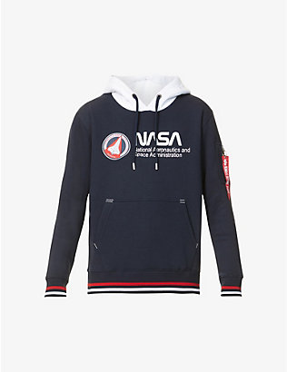 ALPHA INDUSTRIES: Nasa logo-print cotton-blend hoody