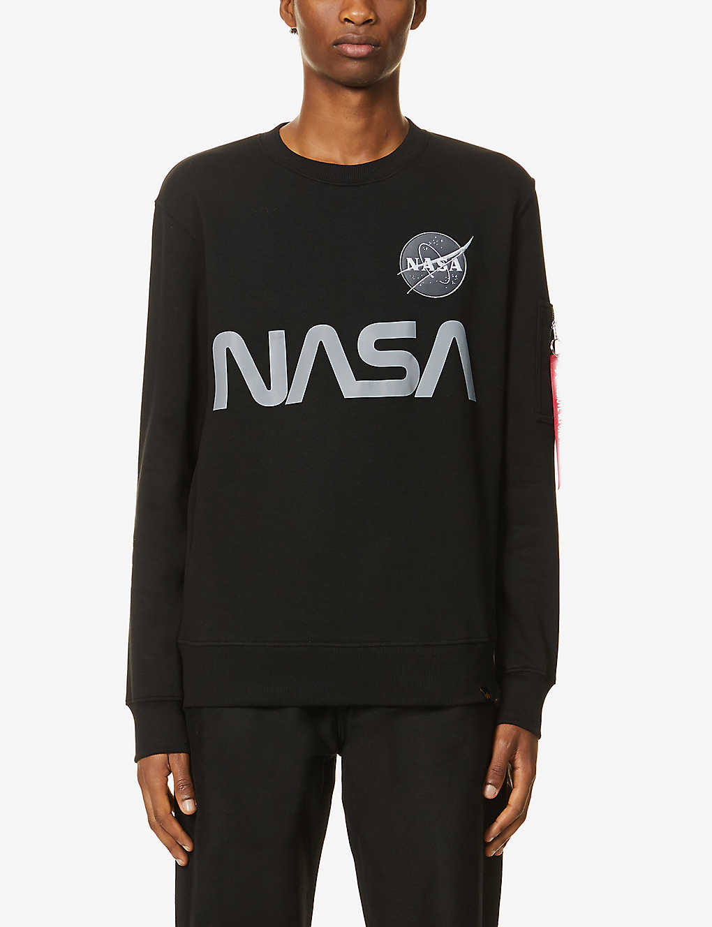 ALPHA INDUSTRIES: Nasa Reflective cotton-jersey sweatshirt