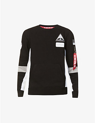 ALPHA INDUSTRIES: Space Camp cotton-blend jersey sweatshirt
