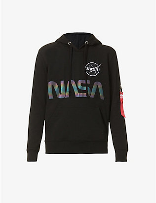 ALPHA INDUSTRIES: Nasa Reflective cotton-blend hoody