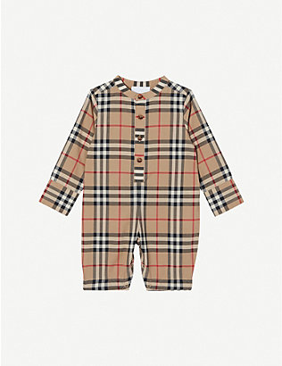 BURBERRY: Pierre checked cotton jumpsuit 1-12 months