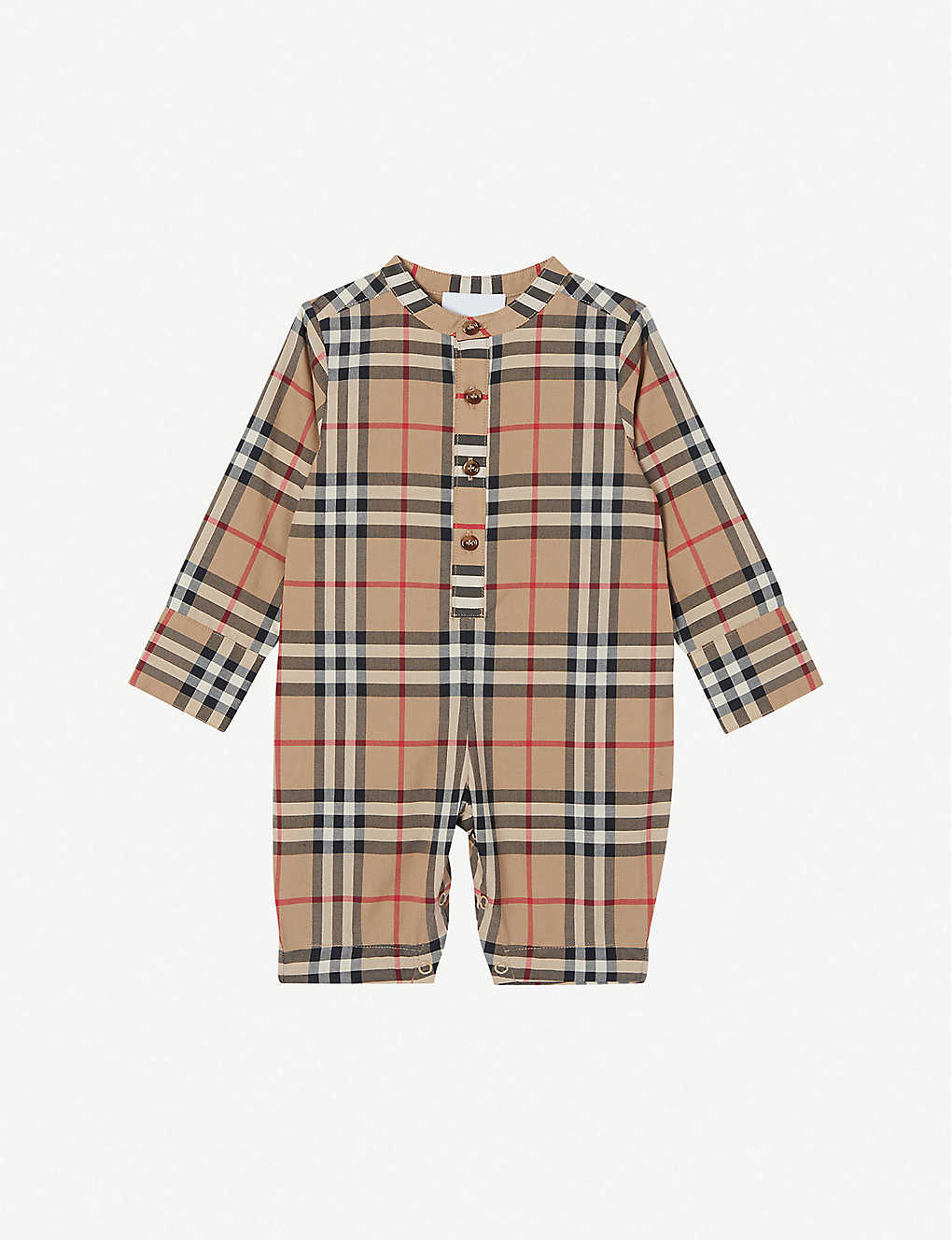 Burberry Babies' Pierre Checked Cotton Jumpsuit 1-12 Months In Archive Beige