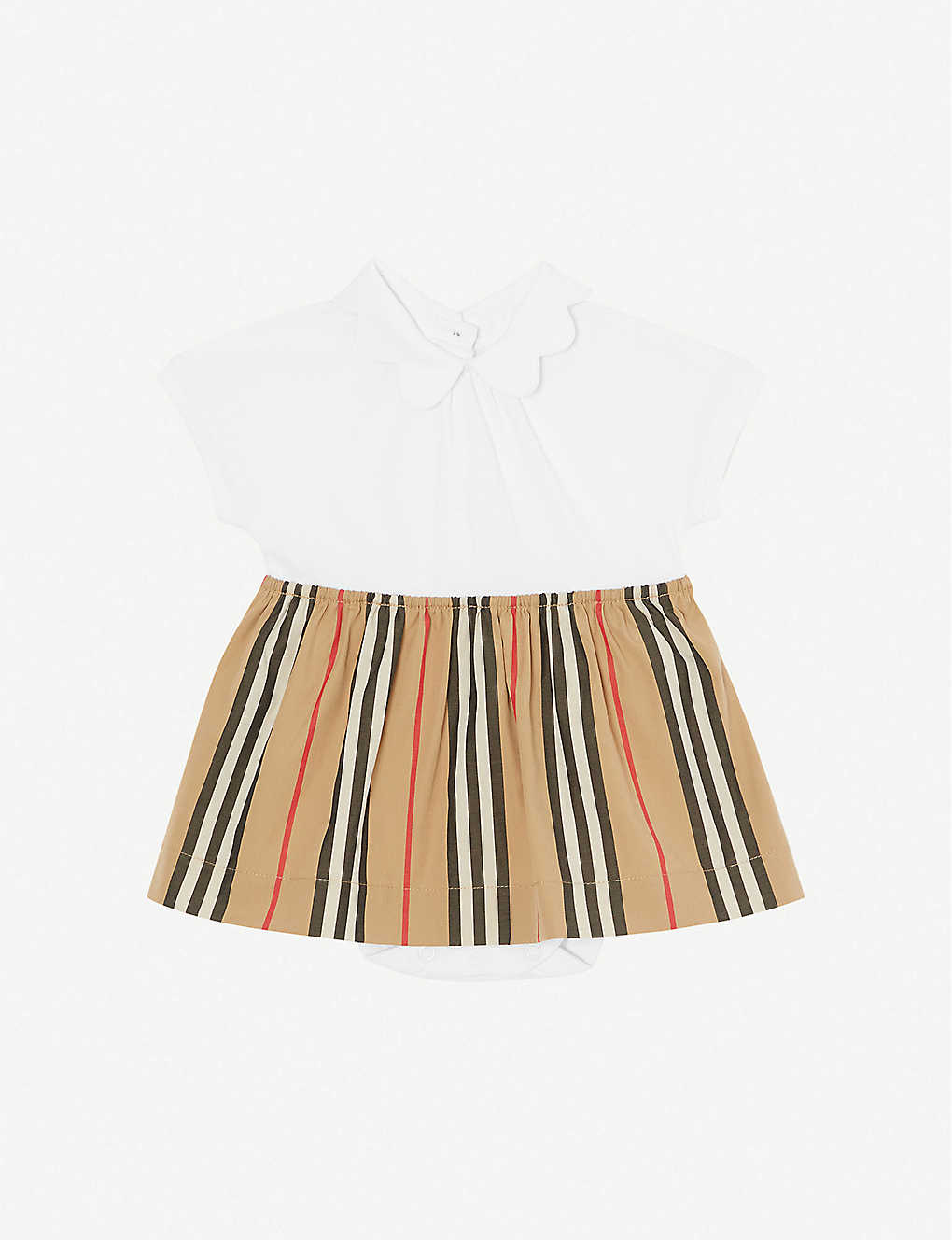 BURBERRY: Janine striped cotton-piqué romper 3-18 months