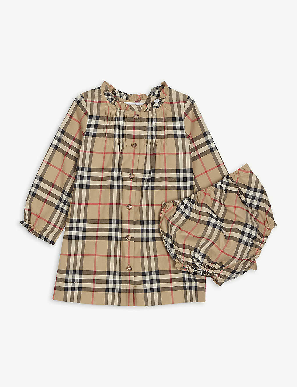 BURBERRY: Marissa checked cotton dress with bloomers 3-18 months