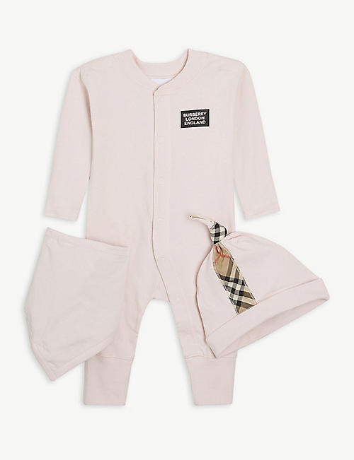 BURBERRY: Logo-print cotton babygrow set 1-6 months