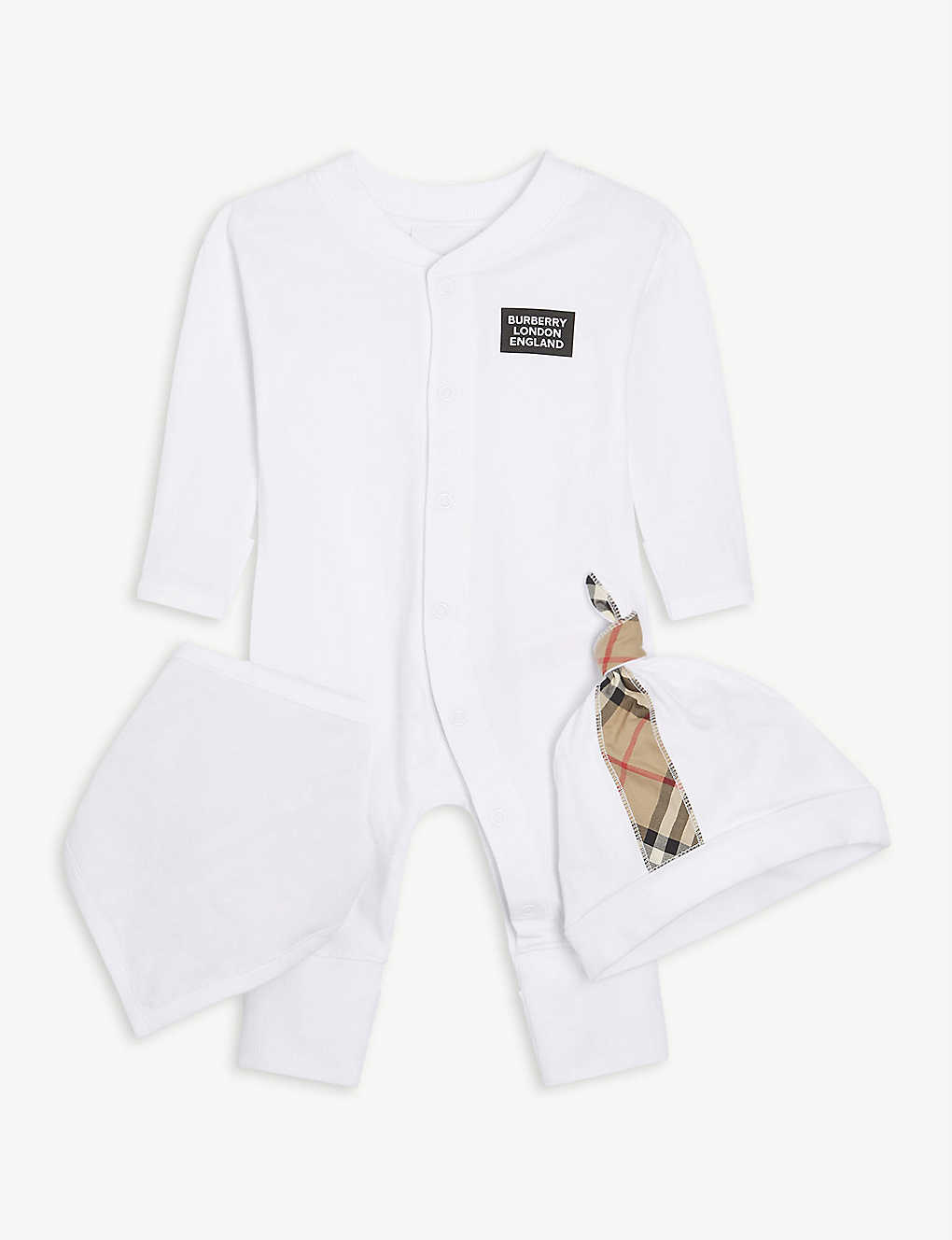 BURBERRY: Logo cotton baby gift set 1-6 months