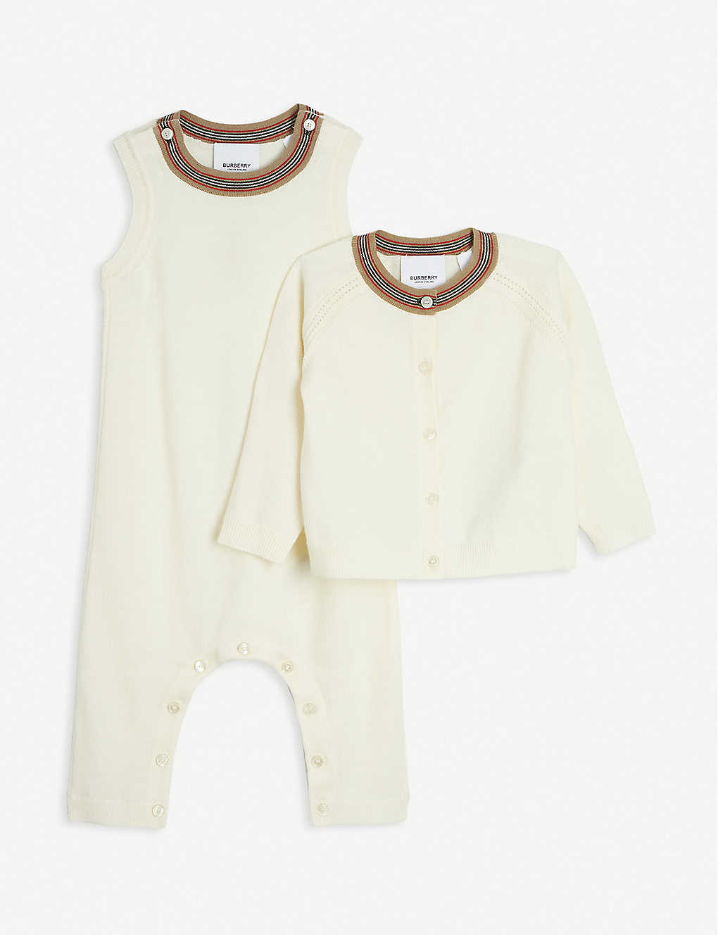 BURBERRY: Kim striped-trim wool cardigan and romper set 3-12 months