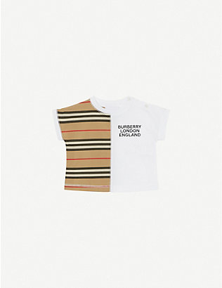 BURBERRY: Yoko logo-print striped cotton T-shirt 1-18 months