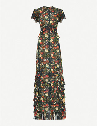THE VAMPIRE'S WIFE: The Frill Seekers floral-print silk-chiffon maxi dress