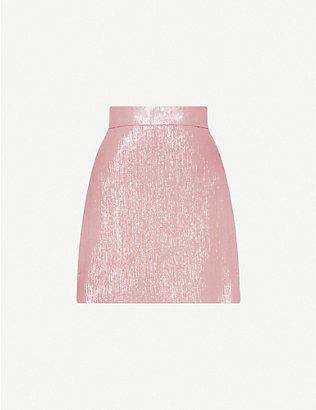 THE VAMPIRE'S WIFE: Nearly Nuthin' high-waisted wool-blend lamé mini skirt