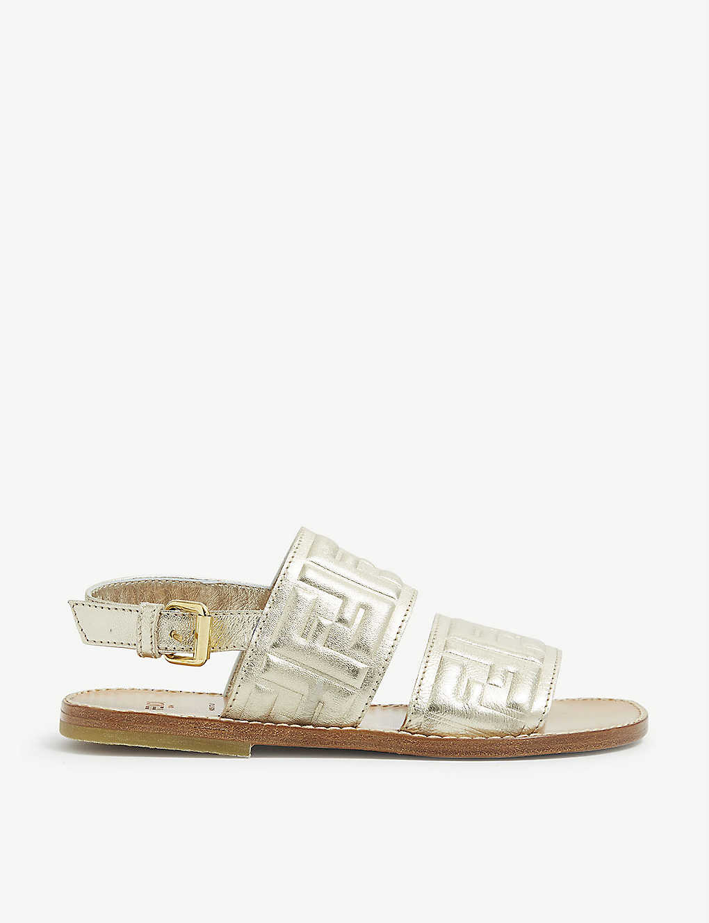 FENDI: FF embossed leather sandals 7-9 years