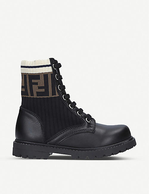 FENDI: FF Worker leather lace-up boots 6-7 years