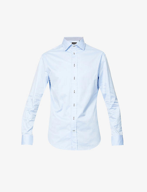 EMPORIO ARMANI: Modern-fit pearlescent-button stretch-cotton shirt