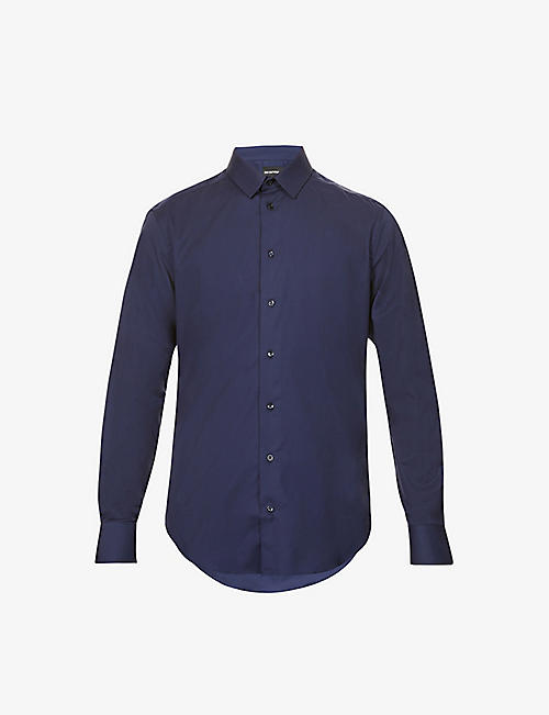 EMPORIO ARMANI: Slim-fit pearlescent-button stretch-cotton shirt
