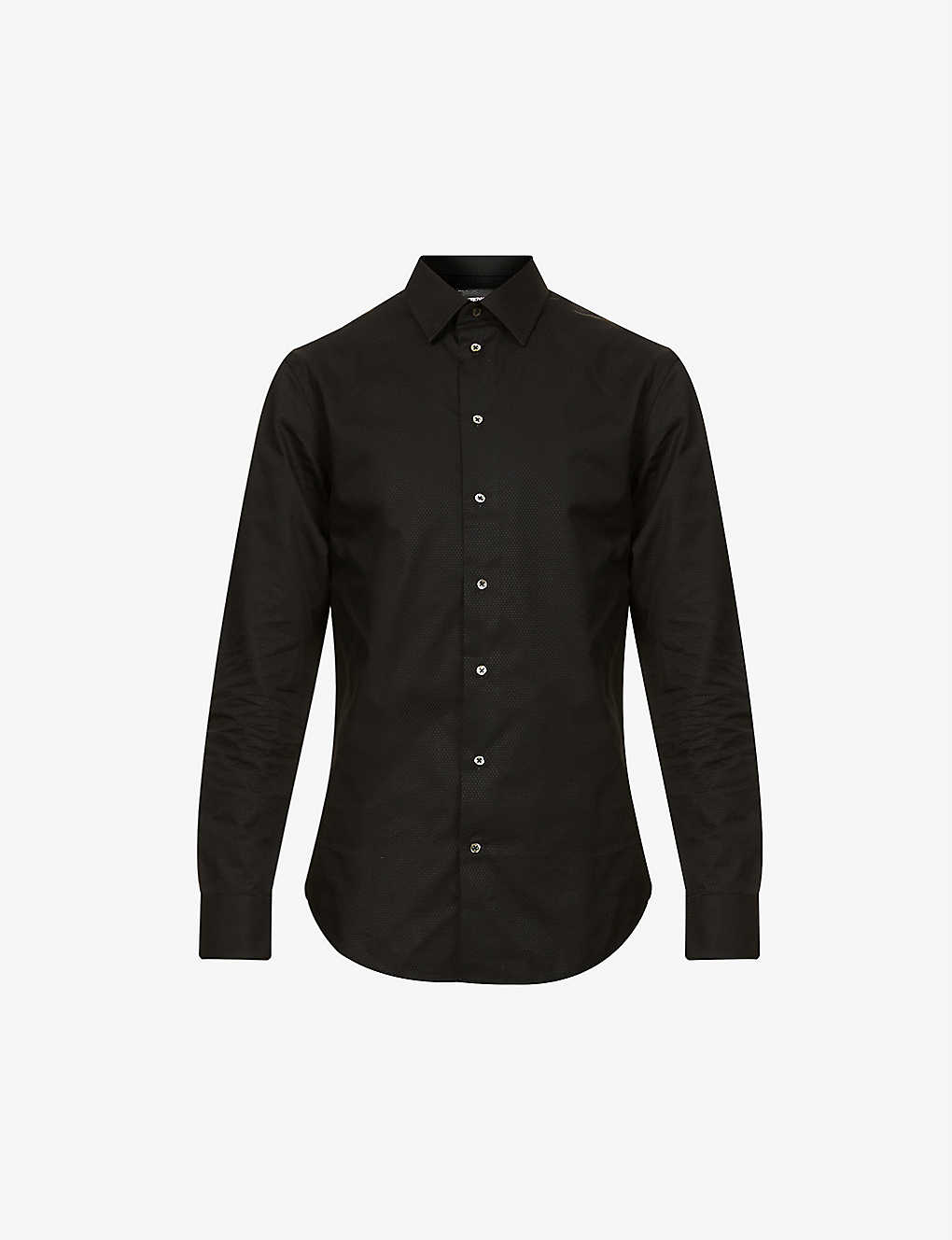 EMPORIO ARMANI: Modern-fit cotton-jacquard shirt