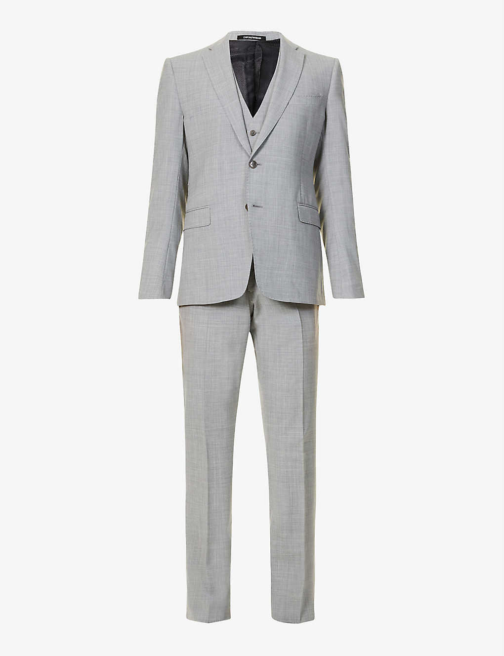 EMPORIO ARMANI: Slim-fit three-piece stretch-wool suit