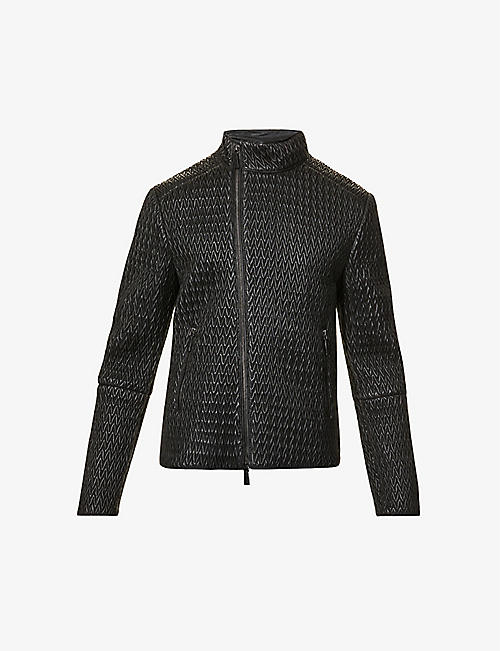EMPORIO ARMANI: Chevron leather jacket