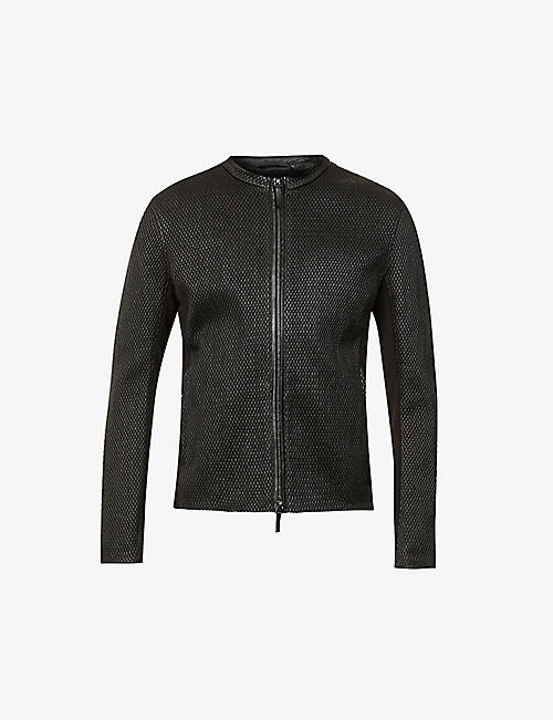 EMPORIO ARMANI: Quilted leather biker jacket