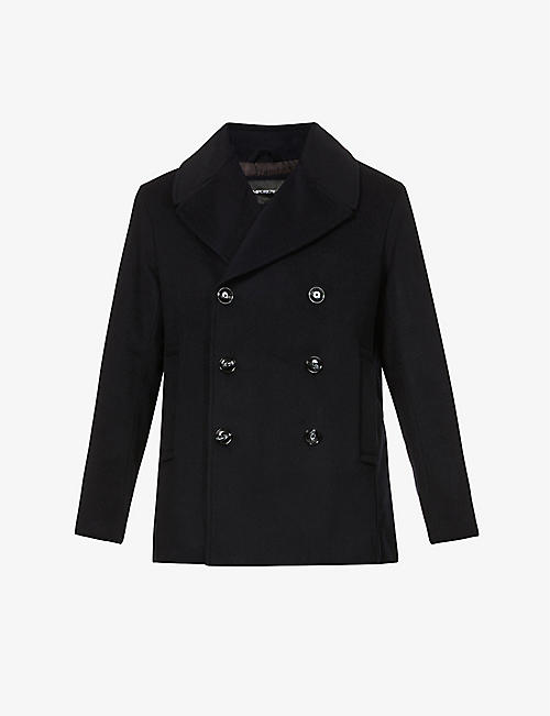 EMPORIO ARMANI: Wool and cashmere-blend pea coat