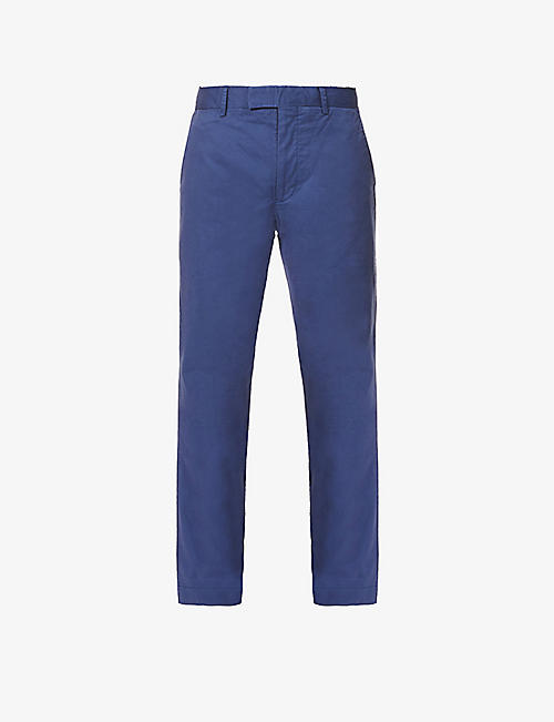 POLO RALPH LAUREN: Slim fit flat front stretch-cotton trousers