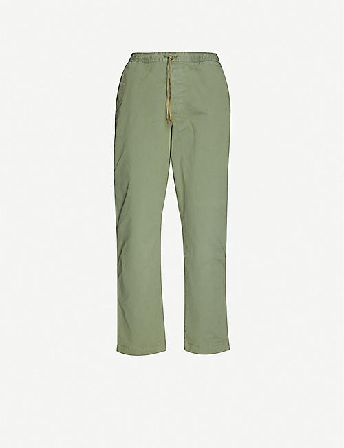 POLO RALPH LAUREN: Logo-embroidered slim-fit tapered stretch-cotton trousers