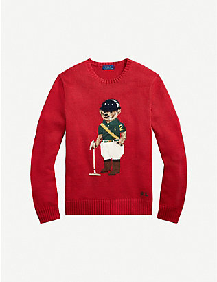 POLO RALPH LAUREN: Polo Bear-embroidered crewneck wool jumper