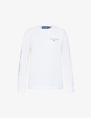 POLO RALPH LAUREN: Logo-print long-sleeved cotton top