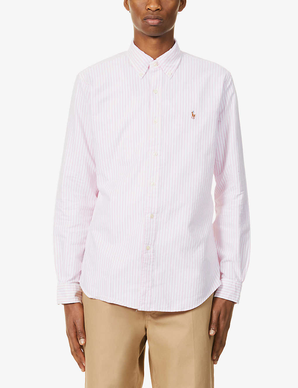 POLO RALPH LAUREN: Pony-embroidered slim-fit cotton-poplin shirt