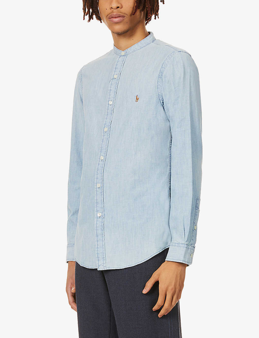 POLO RALPH LAUREN: Chambray collarless cotton shirt