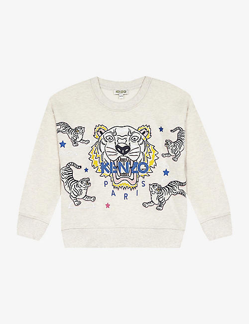 KENZO: Tiger logo cotton sweatshirt 4-14 years