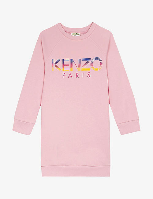 KENZO: Logo-print cotton dress 4-14 years