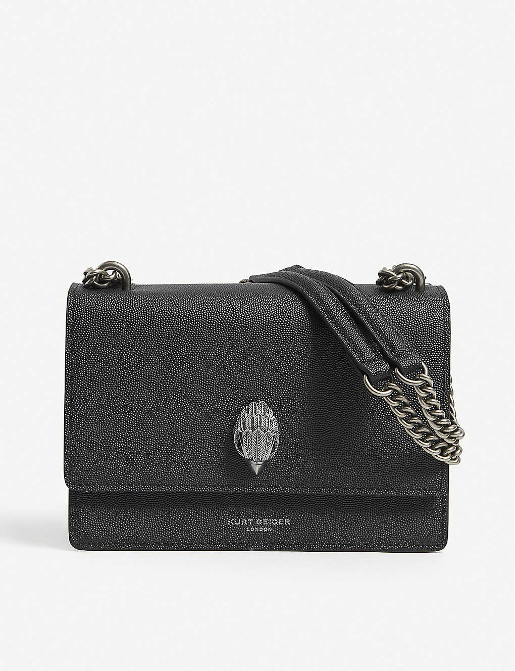 KURT GEIGER LONDON: Shoreditch grained leather cross-body bag