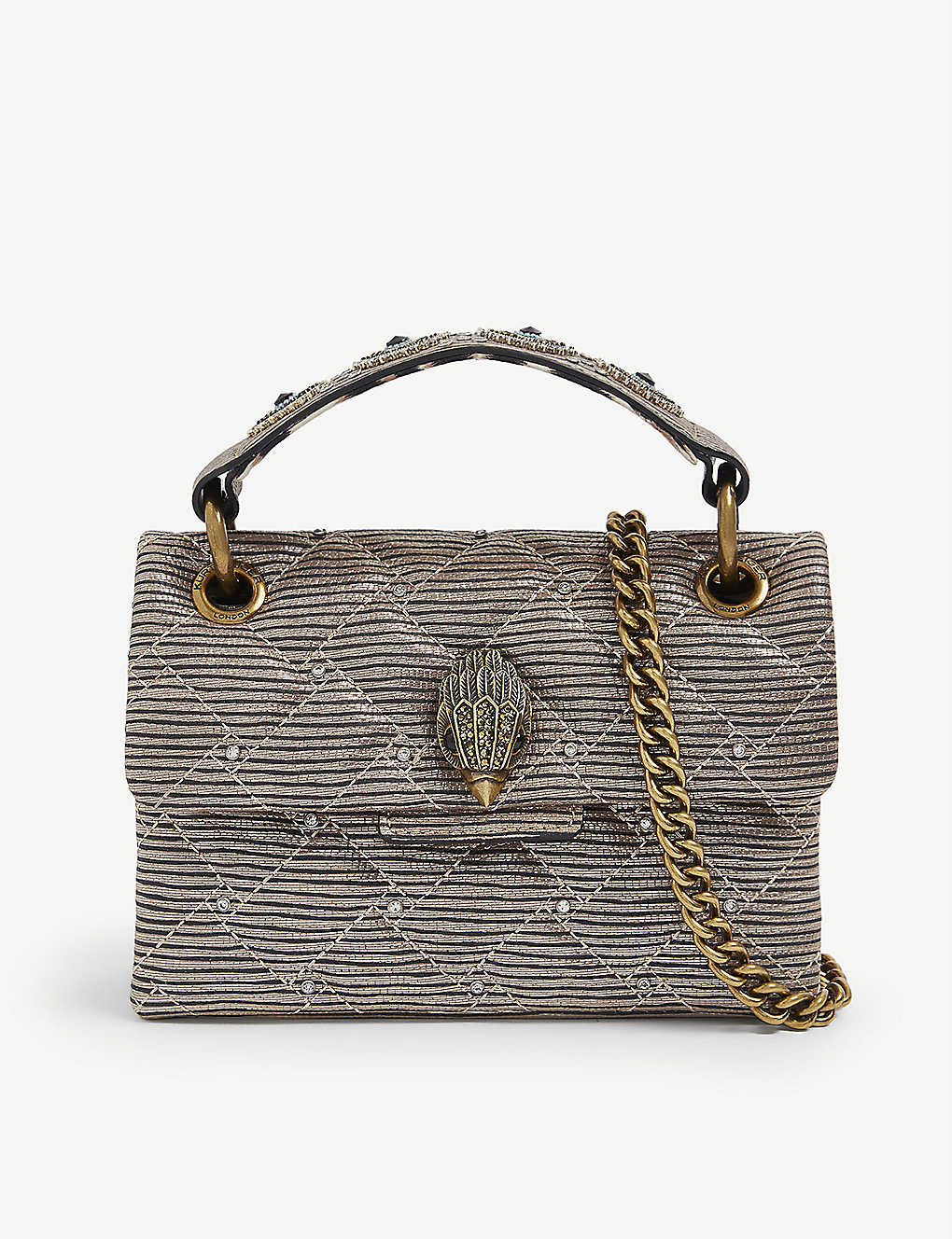 KURT GEIGER LONDON: Kensington mini embellished tweed shoulder bag