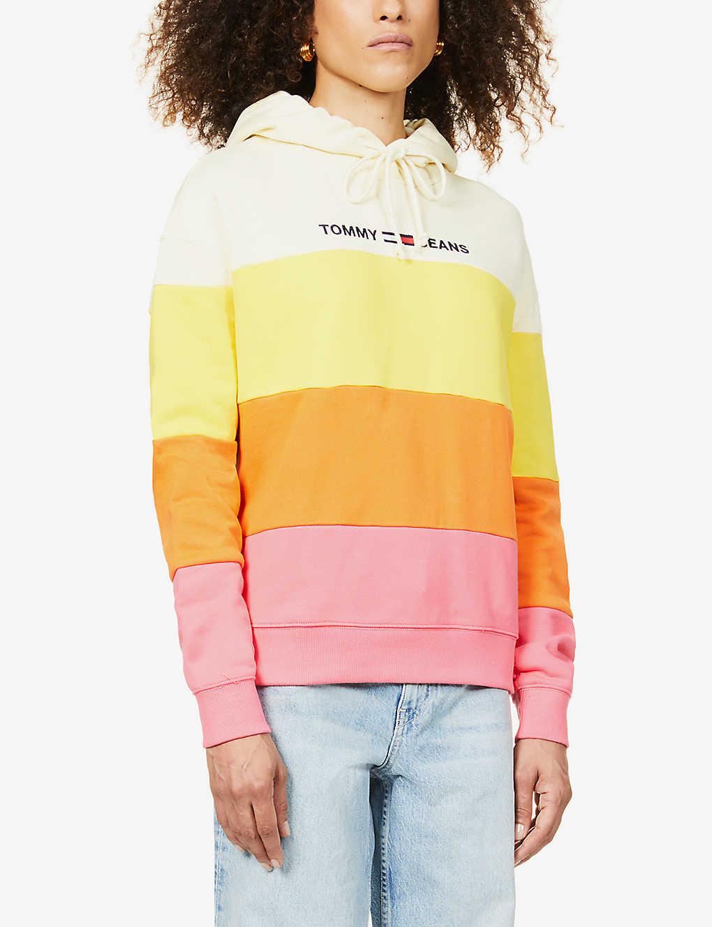 Tommy Jeans Colour Block Cotton Jersey Hoody Selfridges Com