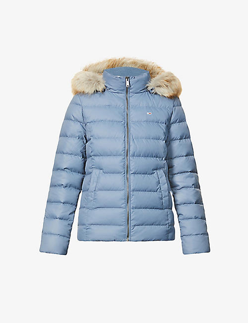 TOMMY JEANS: Logo-embroidered faux-fur shell-down jacket